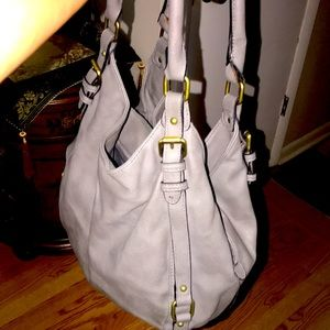 Like new leather gray bag with lots of room